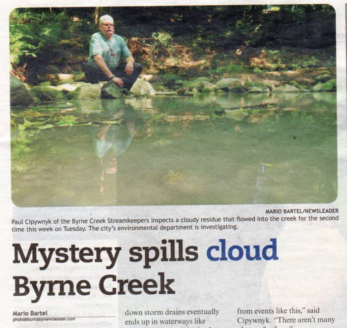 Paul Byrne Creek Spill