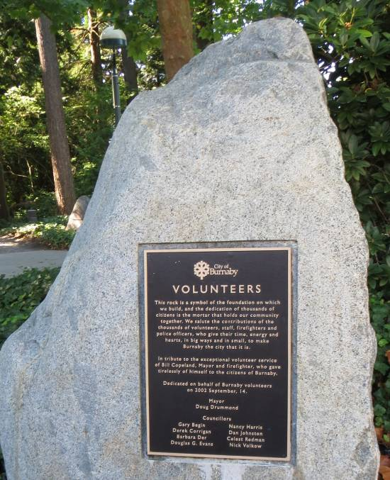 Burnaby volunteer monument
