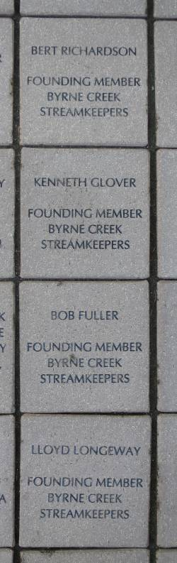 Byrne Creek Streamkeepers founders paving stones