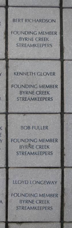 Byrne Creek Streamkeepers founders paving stones