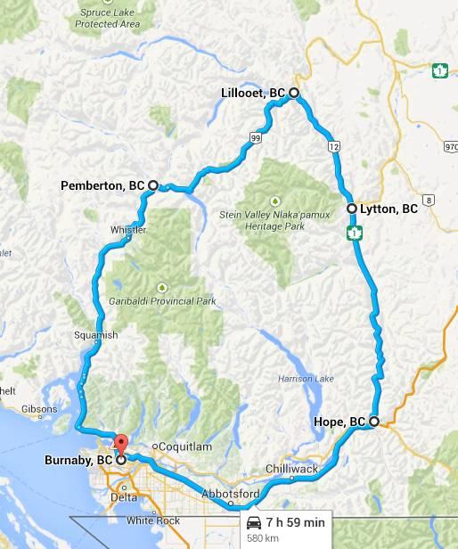 Google Map of Duffy Lake road loop