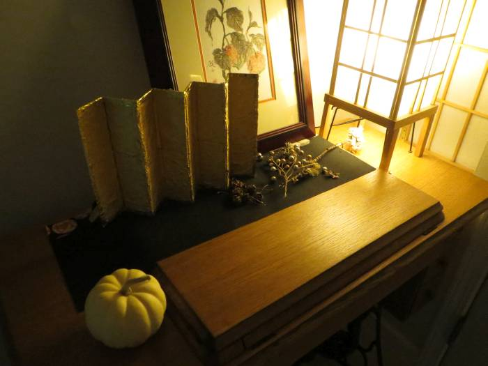 miniature golden Japanese screen
