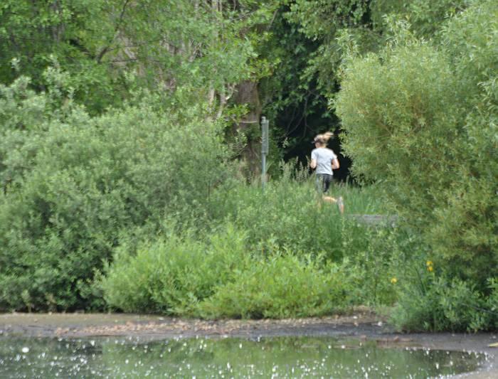 Sister jogging Deer Lake