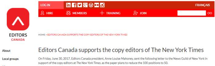 editors canada supports NYT copy editors
