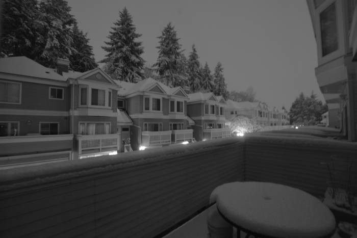 snowy Burnaby night scene