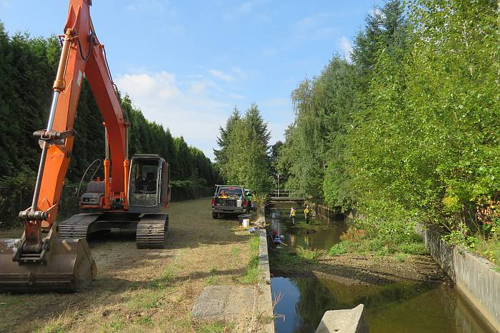 byrne creek sediment pond cleanout burnaby bc